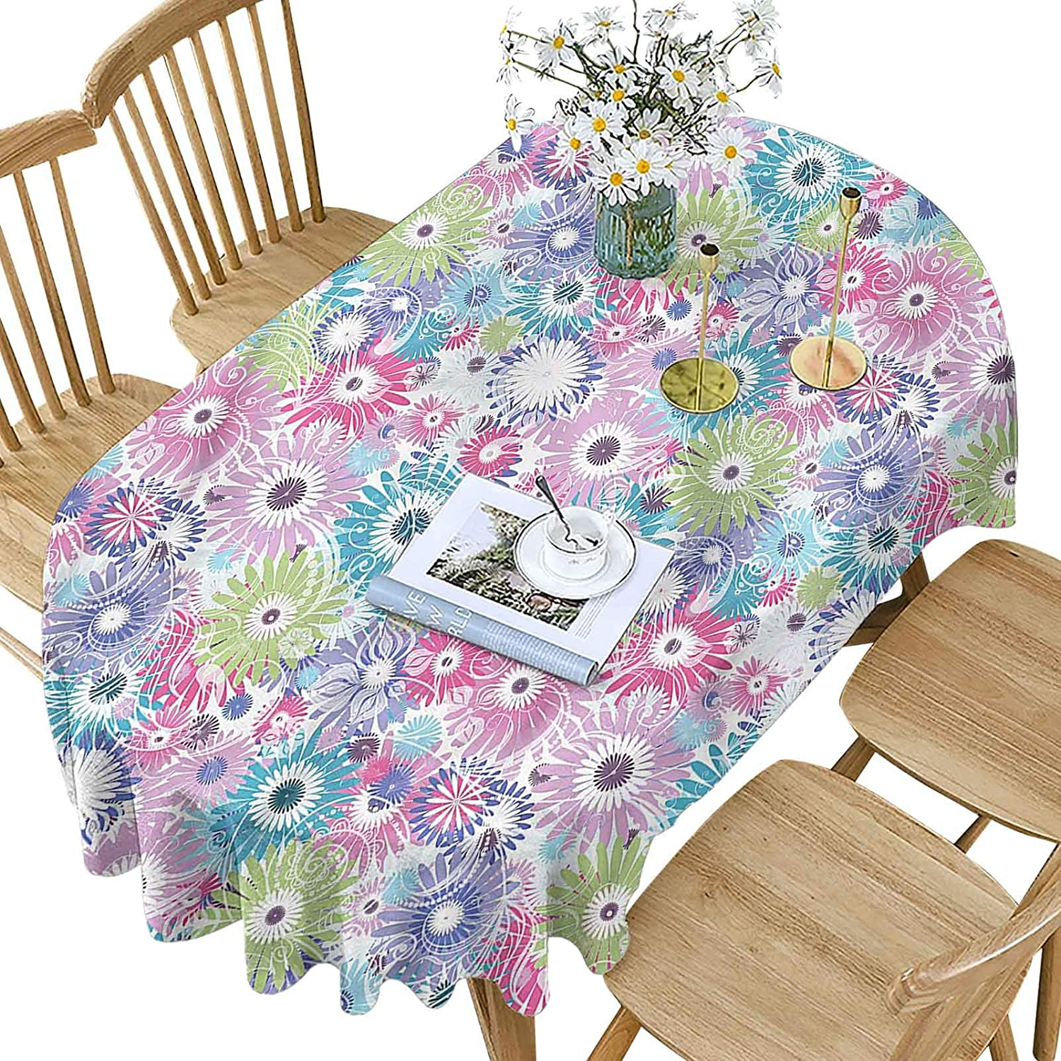 Floral Polyester Oval Tablecloth Mesa Mall Vintage Pattern Colorful Curls wholesale