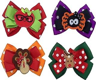 Hair Bows for Girls, 4 Seasonal Grosgrain Ribbon Bows, Clips to Hair