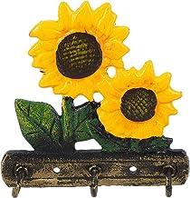 YARNOW Sunflower Wall Hook Metal Vintage Key Hanger Organizer Decorative Rustic Utility Hooks Cast Iron Coat Hooks Wall De...