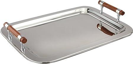 "Elegance Stainless Steel Rectangular Tray, 22"" x 15.5"", Silver"