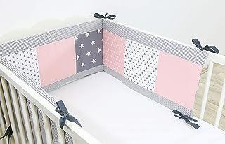 Protector de cuna de ULLENBOOM ® con rosa gris (protector