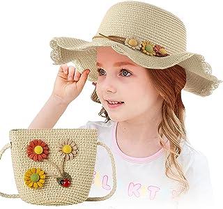 Czemo Cappello da Sole in Paglia Bambino da Spiaggia Estivo e Mini Set Ragazze da Spiaggia Estivi Fiori Berretto Protezion...