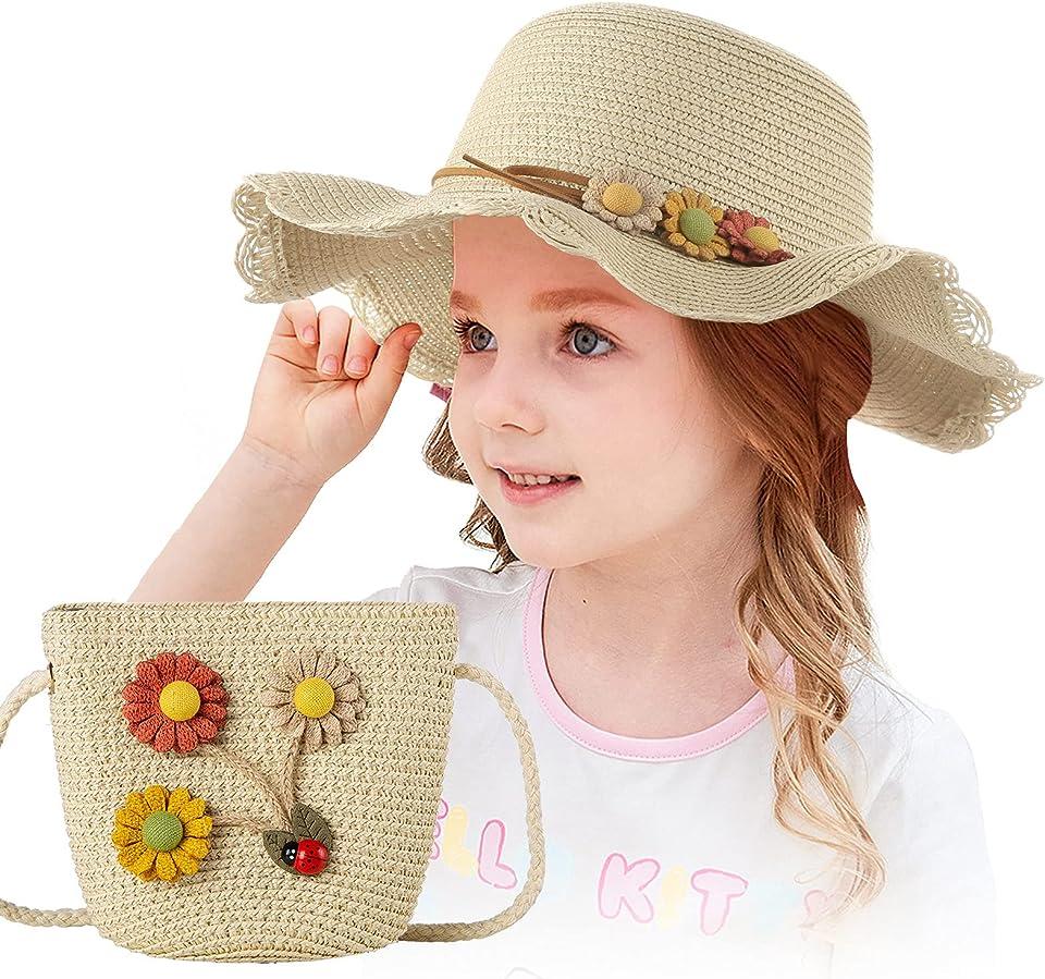 Mädchen Stroh Sonnenhut Mit Strandtasche mit Blumendekoration Süß Baby Blumen Mütze Set Outdoor-Aktivitäten Sommer Fit für 3-7 Jahre Kinder (Beige)