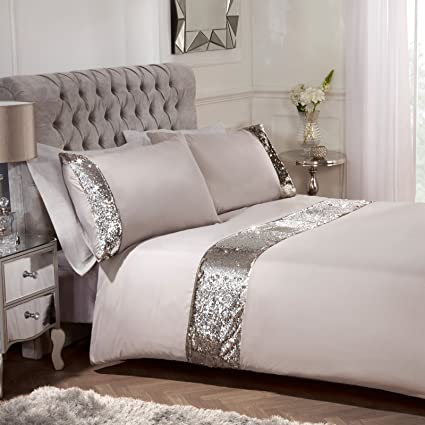Sienna Mermaid Sequin Duvet Cover With Pillowcase Sparkle Bedding Set Natural Mink Superking Amazon Co Uk Kitchen Home
