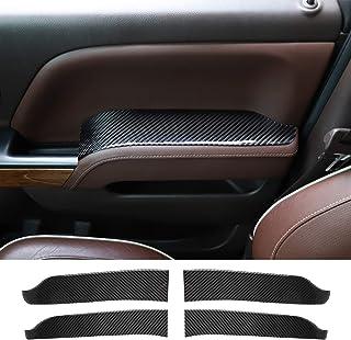 RT-TCZ Door Inner Handler Armrest Trim Cover Interior Accessories ABS Decoration Trim Cover for Chevrolet Silverado 2014-2018 for GMC Sierra 2014-2018 Soft Carbon Fiber 4 pcs