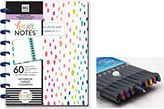 me & My Big Ideas: Medium/Classic Happy Notes A Little Splash of Color Notebook and Comes with Kemah Craft 10 Pc Fineliner Color Pen (PLNO-22)