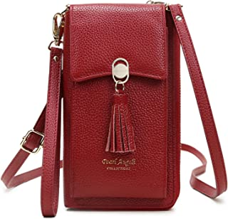 Genuine Leather Crossbody Bag for Women RFID Blocking Phone Wallet Purse with Credit Card Holders Red