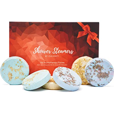 Cleverfy Aromatherapy Shower Steamers - Variety Pack of 6 Shower Bombs for Father' Day. Red Set: Peppermint, Vanilla & Sweet Orange, Pomegranate & Rose, Menthol & Eucalyptus, Lemongrass & Coconut