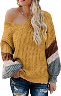 Vansha Womens Loose V-Neck Pullover Sweaters Striped Long Sleeve Oversized Knit Jumper