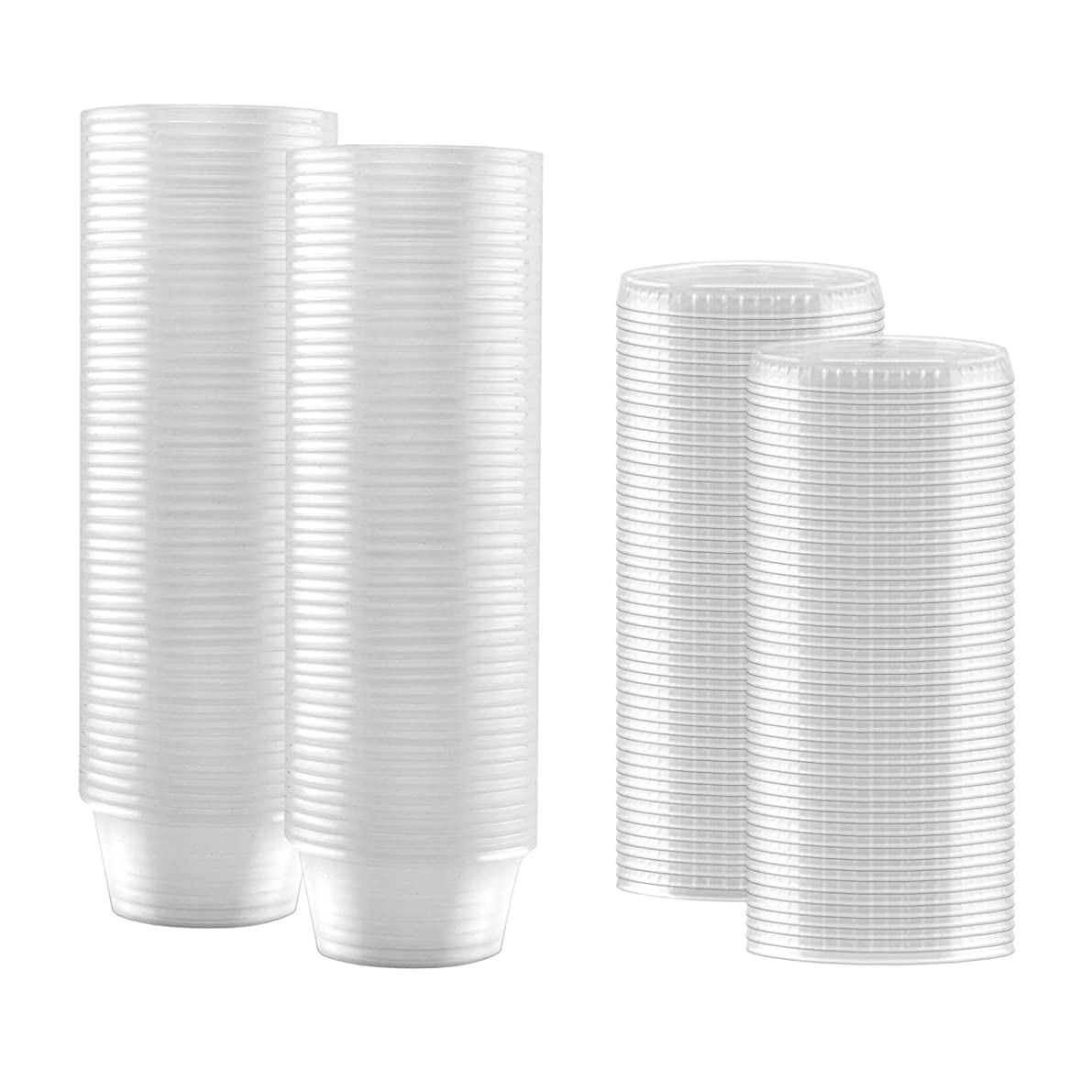 100-Pack of 2 Ounce Clear Plastic Jello Shot Cup Containers with Snap on Leak-Proof Lids –Jello Shooter Shot Cups -FDA-Approved -Compact Food Storage for Portion Control, 2 oz,Sauces, Liquid, Dips
