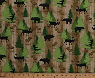 Cotton Northwoods Animals Moose Bears Deer Wildlife Pine Trees Evergreens on Brown Cabin Wood Moose Trail Lodge Cotton Fabric Print by The Yard (D571.65)