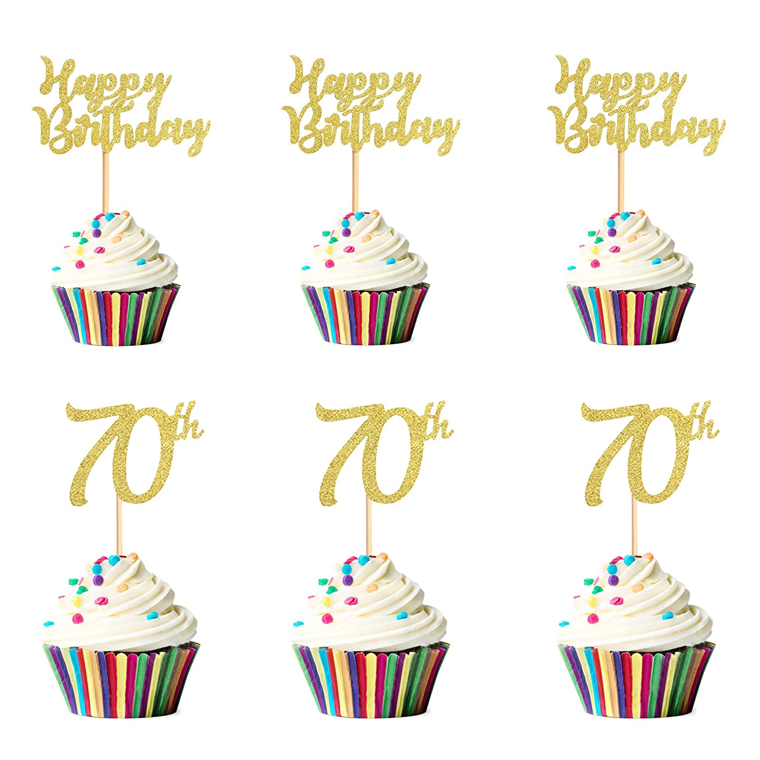 Unimall Super sale period limited Pack of 24 Gold Glitter Birthday Sale item Happy Topper Cupcake 70