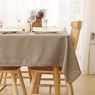 Deconovo Nappe Impermeable pour Table Effet Lin Rectangulaire Table 140x300cm Taupe