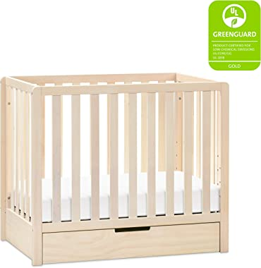 Carter's by DaVinci Colby 4-in-1 Convertible Mini Crib with Trundle Drawer in Washed Natural, Greenguard Gold Certified,