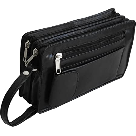 Zmoka Bag Street–Bolsa de mano de piel para hombre con tira de muñeca, bolsa de equipaje de mano, compartimento doble o compartimento simple, selección de colores individual, negro (Negro) - 0