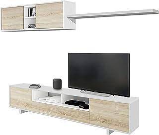Habitdesign 1F6682BO - Mueble de salón Moderno modulos Comedor Belus Medidas: 200 cm x 41 cm de Profundidad (Blanco Bril...