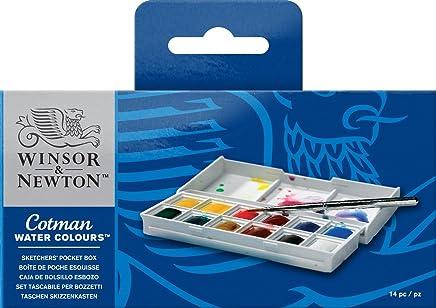 ウィンザー&ニュートン 水彩絵具 ウィンザー&ニュートン コットマン ウォーターカラー  12色セット スケッチャーズ ポケットボックスセット ハーフパン
