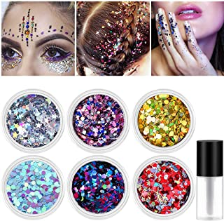 Halloween Body Glitter, Face Glitter NICEAUTY Chunky Nail Glitter 6 Colors Cosmetic Glitters Makeup Glittter with 1pcs Long Lasting Safe Non Toxic Fix Gel for Festival Face,Makeup,Body,Hair & Nail