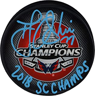 T.J. Oshie Washington Capitals 2018 Stanley Cup Champions Autographed  Stanley Cup Champions Logo Hockey Puck with 9172a078a