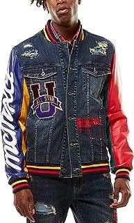 Smoke Rise Patch Denim Varsity Jacket with PU Sleeves
