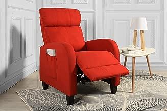 Living Room Slim Manual Recliner Chair (Red)