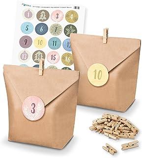 comprar comparacion itenga - Set de calendario de Adviento para rellenar uno mismo, con bolsas para regalos + pinzas + pegatinas (números del ...