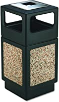 Safco Products Canmeleon Outdoor/Indoor Aggregate Panel Trash Can with Ash Urn 9473NC, Black, Decorative Fluted Panels,...