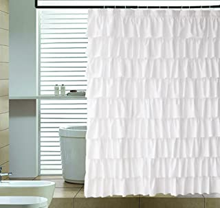 Ameritex Ruffle Shower Curtain Home Decor | Soft Polyester, Decorative Bathroom Accessories | Great for Showers & Bathtubs |White,72