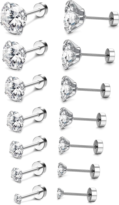 CASSIECA 7 Pairs Cubic Zirconia Hypoallergenic Stud Earrings for Women Men Girls Statement Cartilage Fashion Surgical Steel Helix Earrings Set