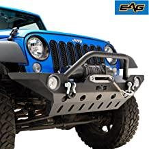 EAG Fit for 07-18 Jeep Wrangler JK Offroad Front Bumper with Fog Light Hole and Lower Skid Plate