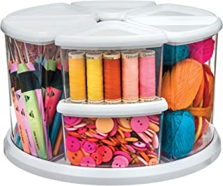 """Deflecto Rotating Carousel Craft Storage Organizer, 9-Canister Configuration Includes 3"""" and 6"""" Canisters, Removable, Clear, White Lids (3901CR)"""