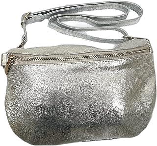 Italy borse in pelle Metallic echt Leder Damen crossover Body Bag Bauchtasche Gürteltasche Handtasche