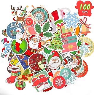 Konsait 100pcs Christmas Stickers Bulk, No Repetition Cartoon Christmas Waterproof Graffiti Vinyl Decal Stickers Pack for ...