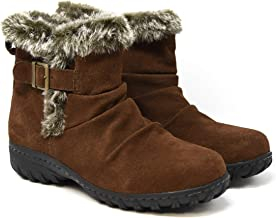 Khombu Women's All-Weather Lindsey Buckle Suede Boots