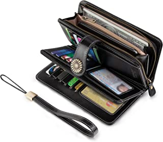 Vintage Style Genuine Leather Large Capacity RFID Wallet Organizer for Women