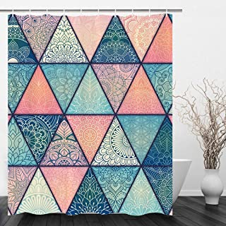 VIMMUCIR Geometric Bohemian Shower Curtain, Indian Mandala Colorful Bold Design Decorative Triangle Print Fabric Bathroom Curtain Set with Hooks, Turquoise and Pink (60