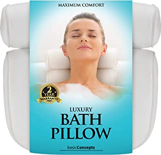 Bath Pillow (Premium Quality), Luxury Bathtub Pillow Rest (Powerful Suction Cups), Bath Pillows for Tub Neck and Back Supp...