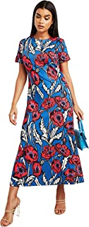 Big Floral Printed Round Neck Maxi Women's Dress with Short Sleeves