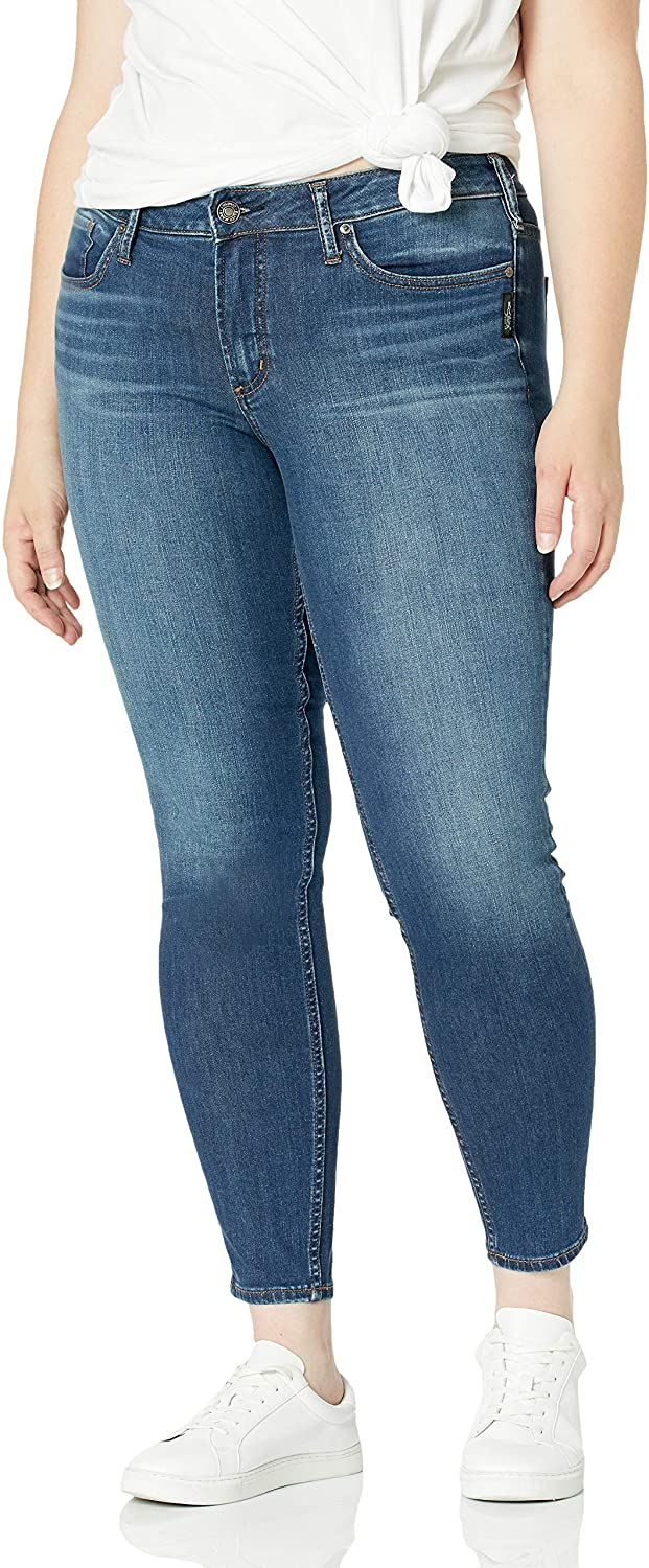 Silver Jeans Co Womens Plus Size Suki Curvy Fit Mid Rise Skinny Jeans