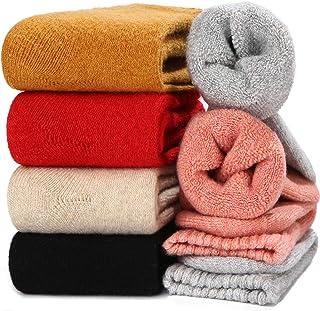 Winter Wool Socks for Women Knit Cotton Warm Crew Sock Fun Design, 5 Pack, One Size