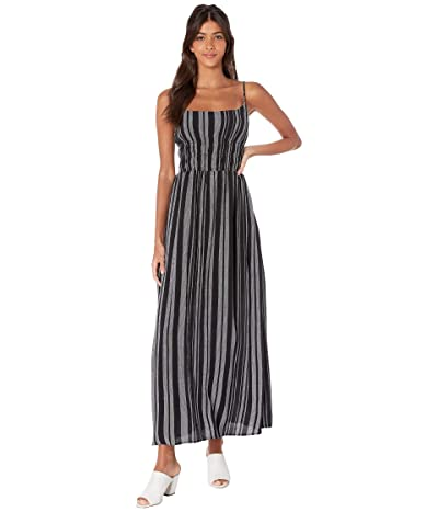 1.STATE Cinched Waist Checker Grid Maxi Dress (Rich Black) Women