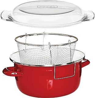 Premier Housewares Deep Fryer Freidora, acero, esmalte, vidrio