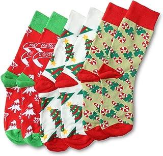 Christmas Socks Adult Christmas Holiday Socks 3 Pairs Colorful & Fun Socks