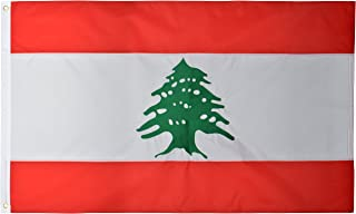 Green Grove Products Lebanon 3' x 5' Ft 210D Nylon Premium Outdoor Embroidered Lebanese Flag