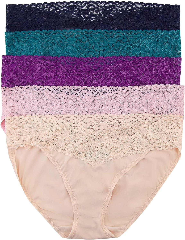 Felina Stretchy Lace Trimmed Bikini Underwear - Sexy Underwear for Women, Bikini Panties, Seamless Panties (5-Pack)