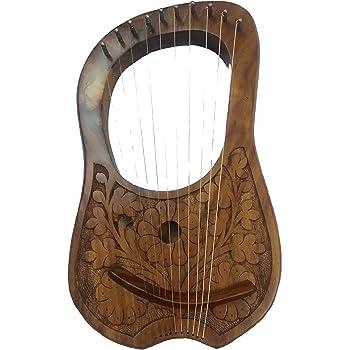 Lyre Harpe 10 cordes en métal Motif fleurs en palissandre Finition naturelle Gravure à la main Bois shesham Lyra Hrp