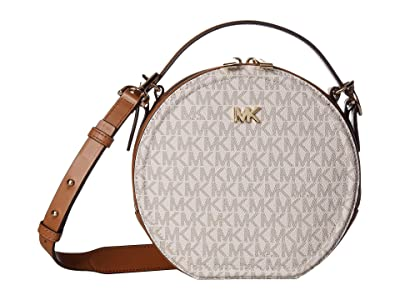 MICHAEL Michael Kors Delaney Medium Top-Handle Canteen Messenger (Vanilla/Acorn) Handbags