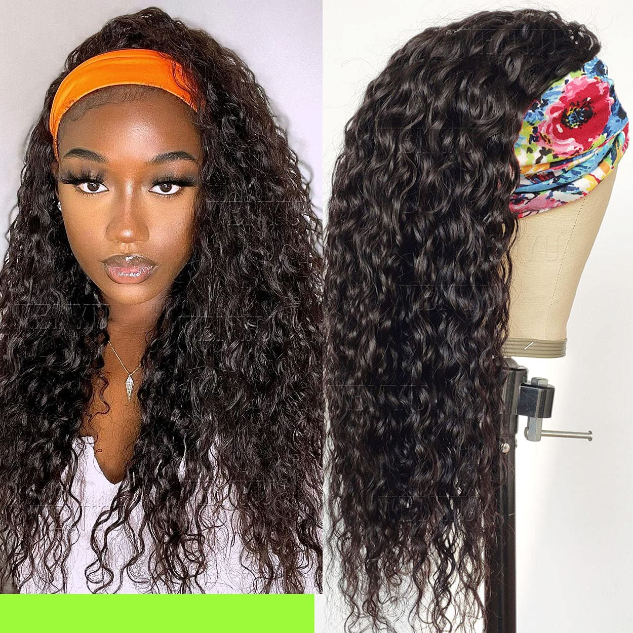 WENYU Industry No. 1 Headband Wigs For Black Women Curly Wave Hair Water Mail order Human