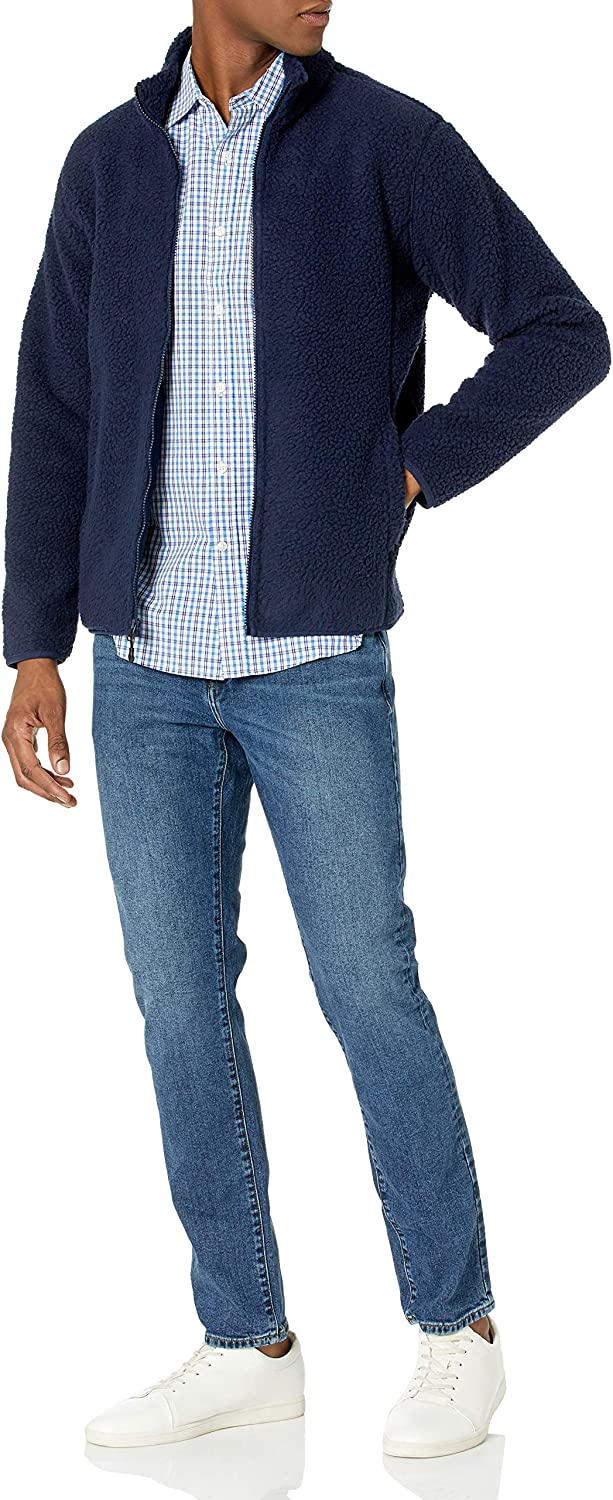 Essentials Mens High Pile Fleece Full-Zip Jacket Fleece Jacket