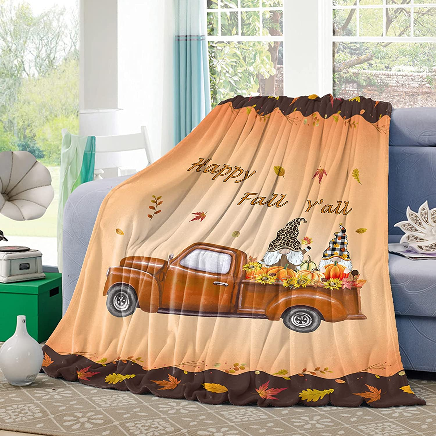 Flannel Discount mail order Fleece Throw Blanket Happy Sunf List price Fall Y'all Gnome Pumpkin